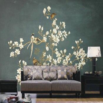 Пользовательские 3d обои 3D китайская ручная роспись цветы птица картина росписи ТВ диван фон стены гостиной спальни обои