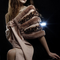 fur trimmed shawl fashion patchwork spring autumn Women party evening cape natural rex rabbit and Cashmere F117
