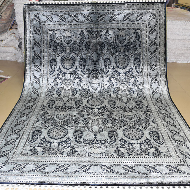 Mingxin 6x9 Feet Gray Black Turkish Carpet Hand Knotted Silk Rugs For House