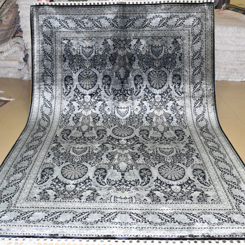 mingxin x pies gris negro turco alfombra anudada mano alfombra de seda alfombra alfombras de casa