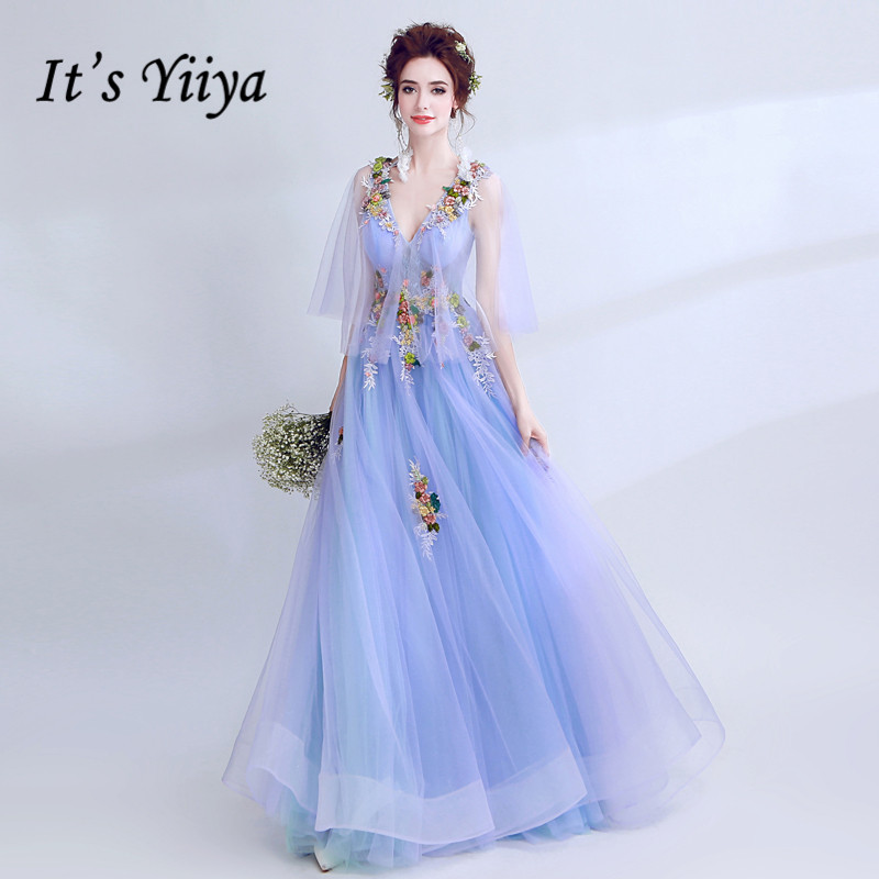 It's YiiYa   Evening     Dress   Appliques Embrodiery Beading Blue Wedding Formal   Dresses   V-neck Flare Sleeve Lace Long Party Gown E166