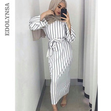 Qatar Uae Islamic Clothing Modest Muslim Dress Women Stripes Saudis Abaya Turkish Muslim Clothing Kaftan Moroccan Caftans D702(China)