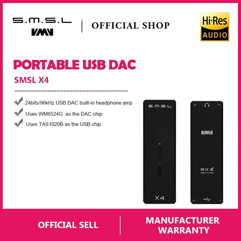 SMSL X4 TAS1028B WM8524G MR690PA USB DAC Tragbare Digitale OTG Kopfhörer Verstärker USB Eingang 3,5mm Ausgang 16-300ohm Drei Farbe