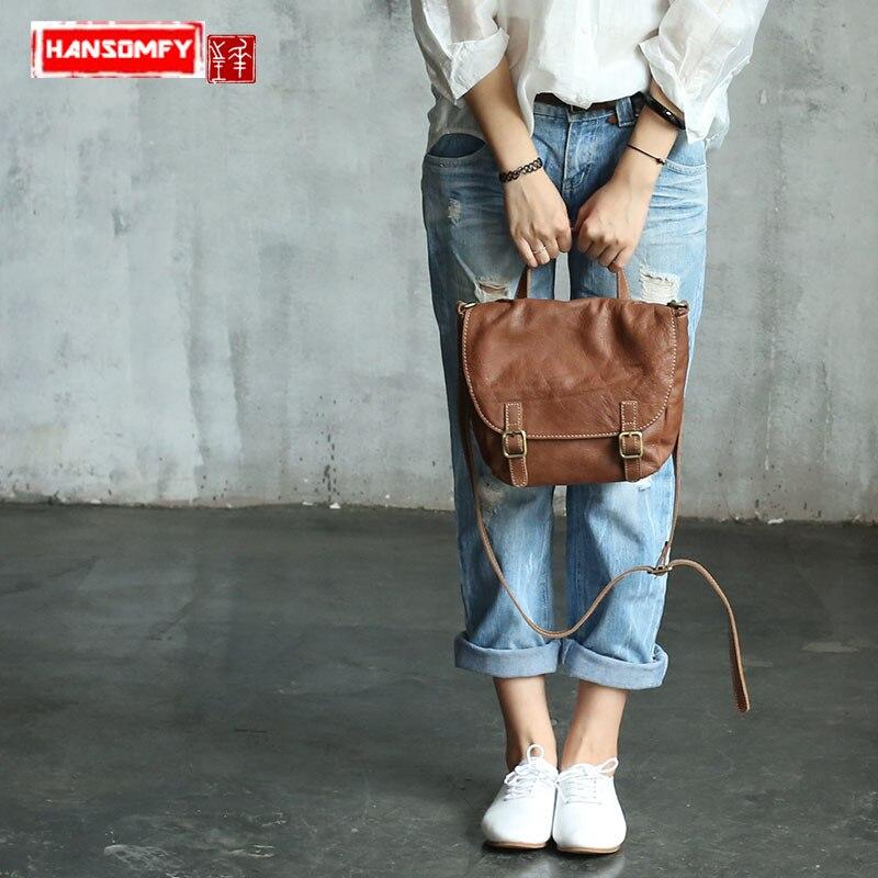 Женская сумка винтажная натуральная кожа Sen женская сумка маленькая сумка ностальгическая кожа на одно плечо сумка мессенджер оригинальна