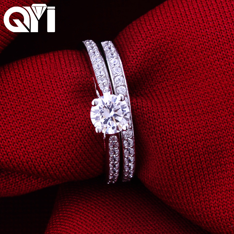QYI 925 Solid Silver Simulated diamond Luxury Engagement Wedding Rings Women Gift Ring Set Fashion Jewelry