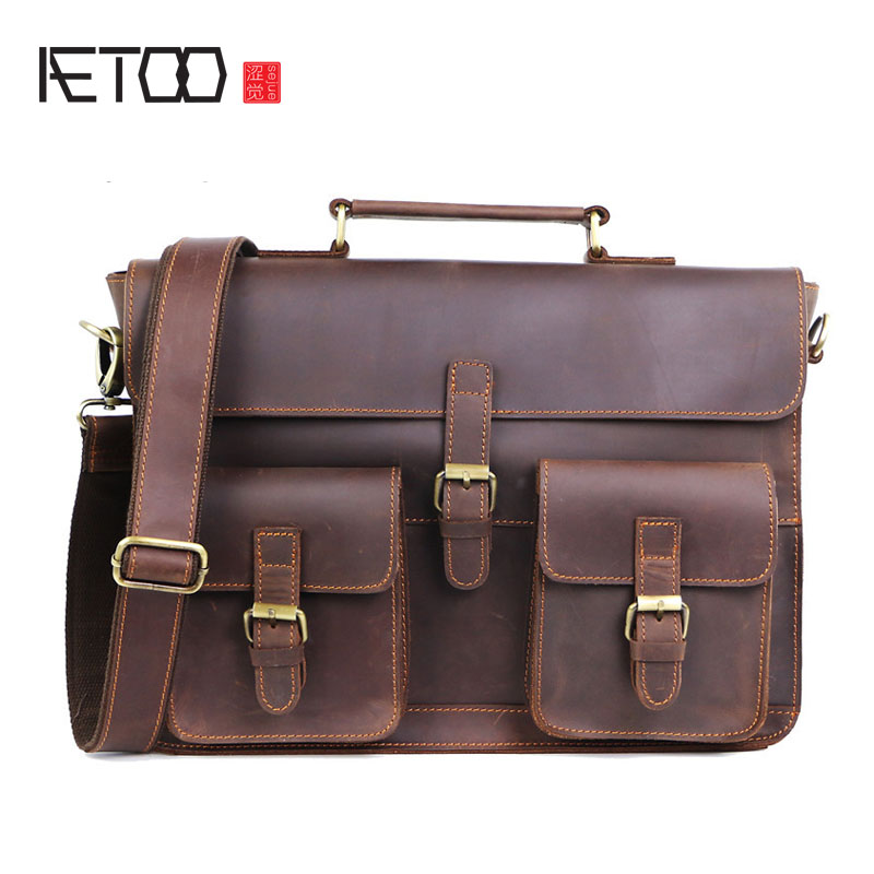 AETOO Crazy horse leather men's briefcase Europe and the United States retro leather handbag large computer bag aetoo europe and the united states fashion new men s leather briefcase casual business mad horse leather handbags shoulder