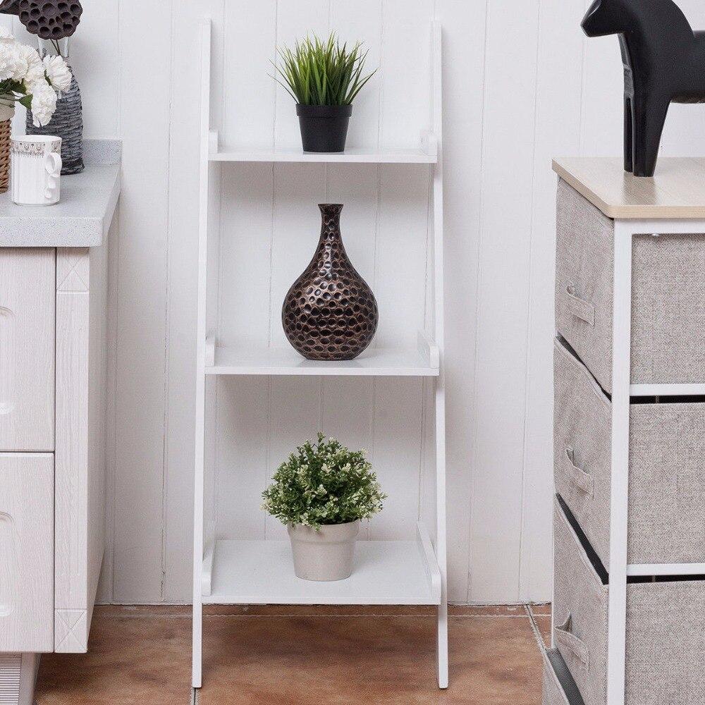 Giantex 3 Tier Leaning Wall Ladder Book Shelf Bookcase Storage Rack Display Furniture Home Furniture HW56699 цена