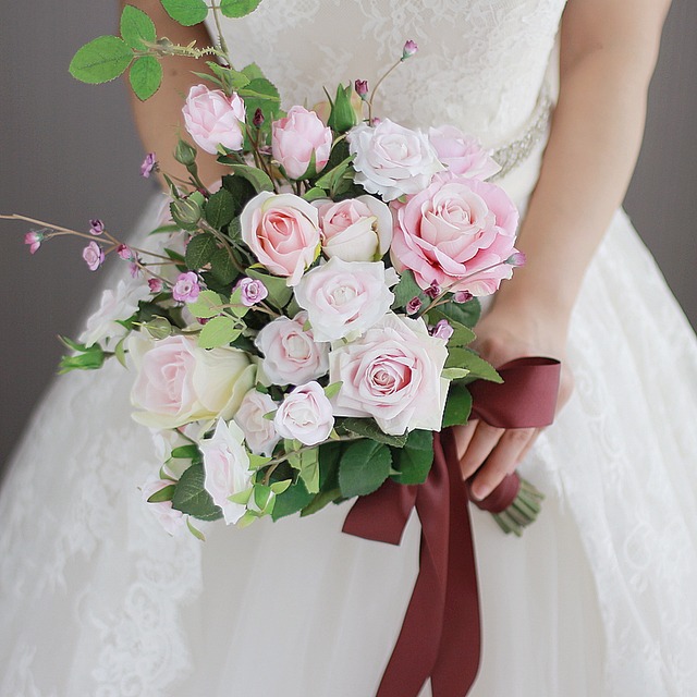 IFFO new high end custom bride hand flower bouquet pink roses ribbon ...