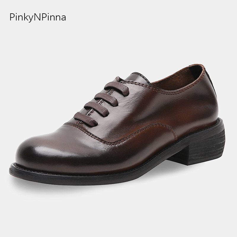 Top quality full leather women oxford laced up sheepskin upper square heels vintage British preppy Brogue style office shoes-in Women's Flats from Shoes    1