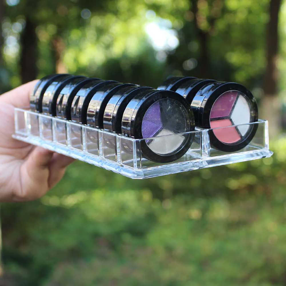 New 1pc Acrylic Eyeshadow Organizer Acrylic Blusher Makeup Organizer 16 Space Cosmetic Storage Case Make Up Holder