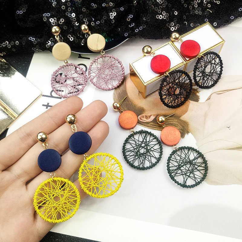 New Exaggerated Big Circle Earrings Female Temperament Personality Wild Circle Wood Pendant Earrings Long Paragraph Many Colour