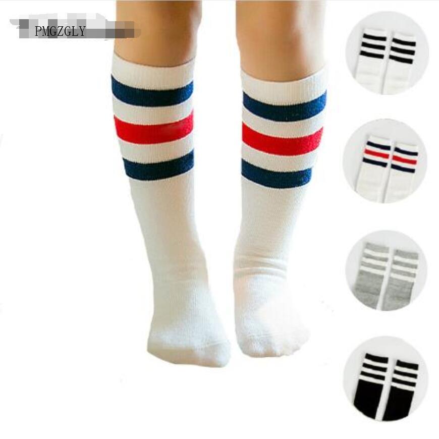 0-6 Jaar Merk Strepen Sport Voetbal Kids Sokken Peuter Baby Katoenen Sokken Knie Hoge Lange Warmers Leuke Jongen Meisje Kinderen Sokken Elegant En Stevig Pakket