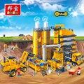 Banbao ciudad minifigure bloques educativos juguetes para los niños regalos cars camión de hormigón estación de construcción urbana pegatinas