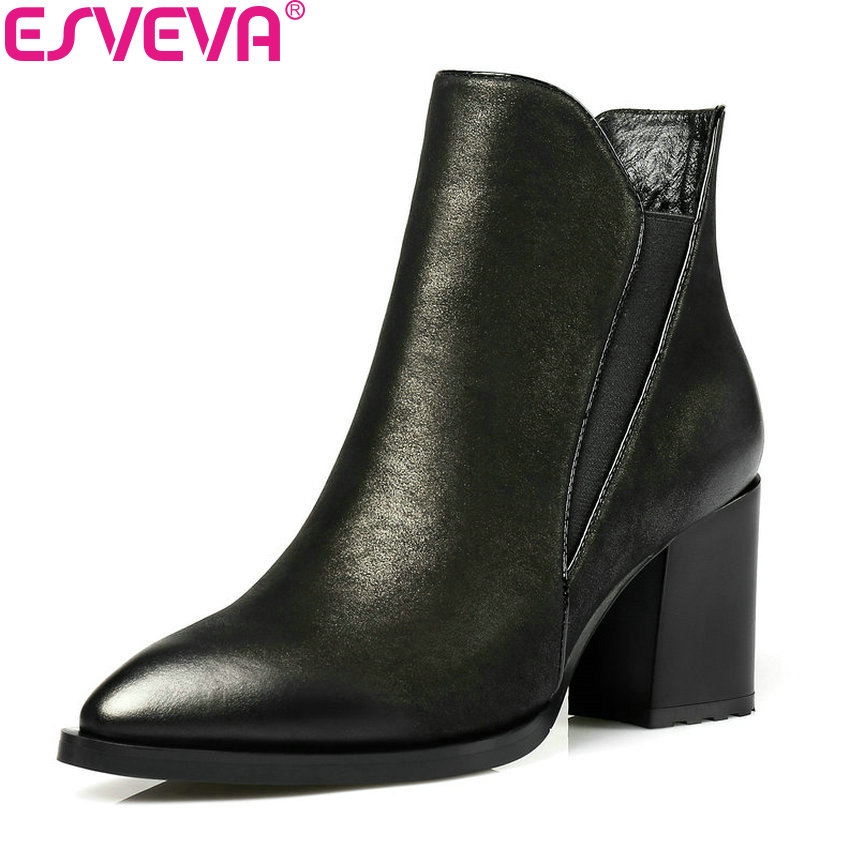 Фотография ESVEVA 2018 Women Boots Square High Heels Synthetic/PU Ankle Boots PU+Real Leather Zippers Convenience Ladies Boots Size 34-42