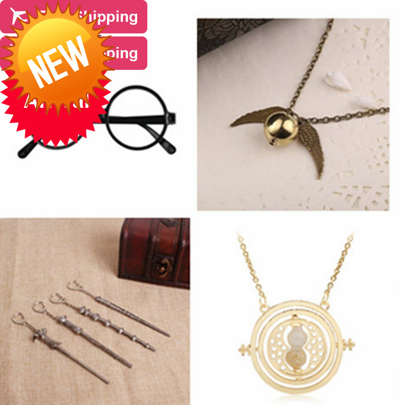Harry Potter Glass Vintage Classic Necklace Alloy Magic Wand Pendant Necklace Keychain Hourglass Cosplay Action Figure