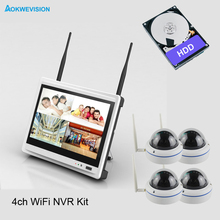 New arrival 4ch dome Day night security camera system 720P Real wireless wifi NVR kit with 12.5 inch LCD Screen