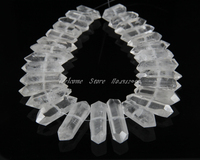 Approx 27pcs/strand,Natural Raw White Quartz Crystal Faceted Nuggets Jewelry,Rough Quartz Point Pendant Necklace 12 15x35 55mm