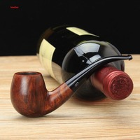 NewBee Briar Wood Handmade 3 Colors 9mm Activated Carbon Arylic Bent Mouthpiece Tobacco Pipe Free 10