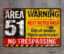 лучшая цена 1 pc No trespassing warning storm area 51 restricted Tin Plate Sign wall poster man cave Decoration Art Dropshipping  metal