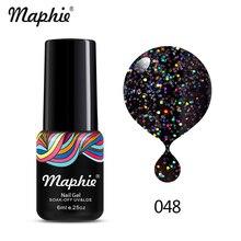 Maphie 6ML Black Color Glitter UV Gel Nail Polish Hot Sale Long Lasting Led Nail Gel Enamel Soak Off Sequins UV Nail Varnish Gel