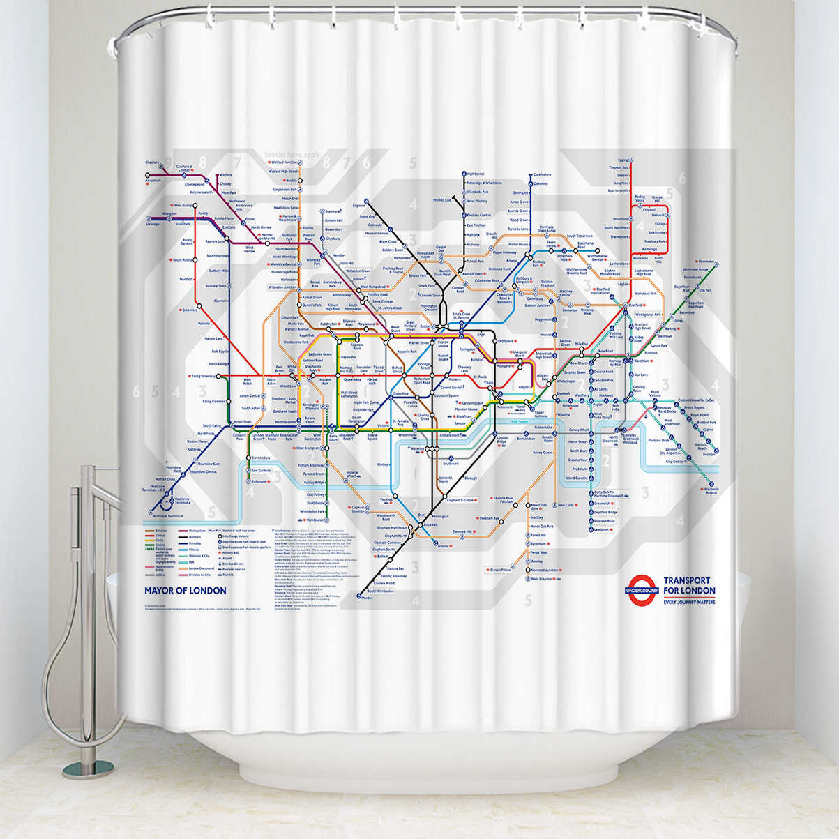 Charmhome London Subway Map Shower Curtain London Transit Polyester Fabric Waterproof White Bath Curtain Hooks Included