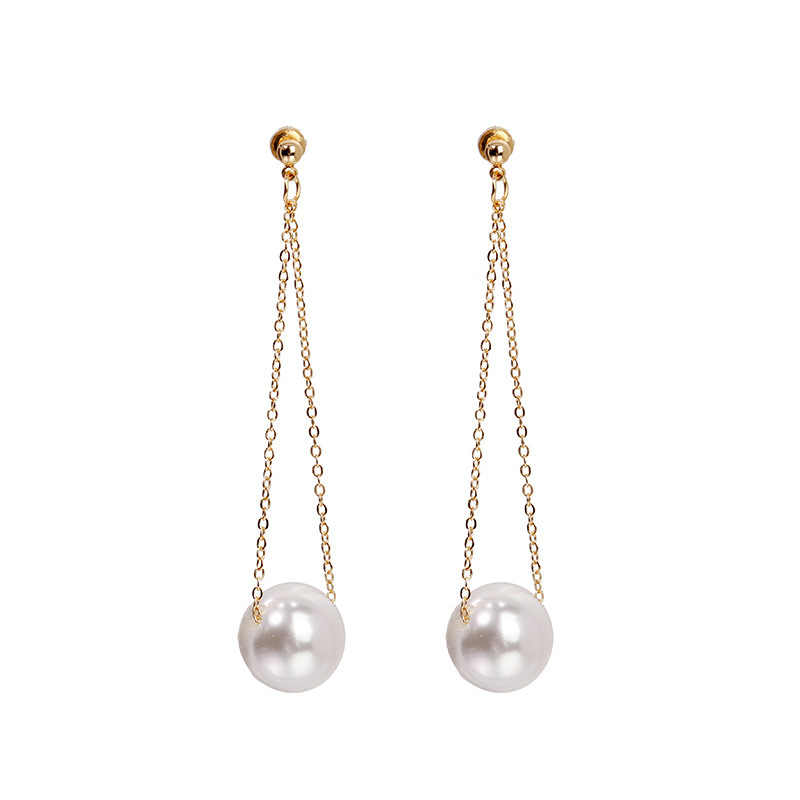 Korean Simulated Pearl Long Tassel Bar Drop Earrings For Women Sweet Dangle Brincos Party Jewelry Drop Earrings Jewelry Earrings