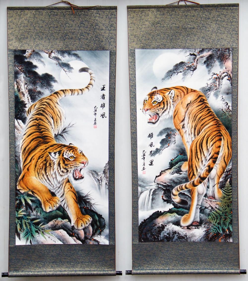 2pcs TOP business gift Home office WALL Decorative art Money Drawing GOOD Luck Mascot Tiger ART