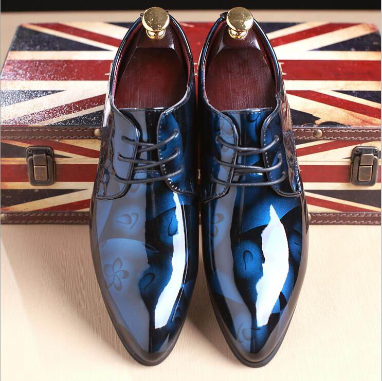 ERRFC Fashion Blue Men Wedding Shoes Pointed Toe PU Leather Shoes Man Plus Size 12 13 14 For Party Shoes 4Colors Silver Red-in Men's Casual Shoes from Shoes    2