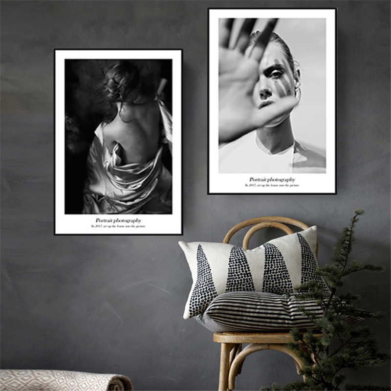 Nordic Modern Black and White Beauty Model Woman Back Canvas Painting Figure Geometry Wall Picture Decorative Poster Living Room