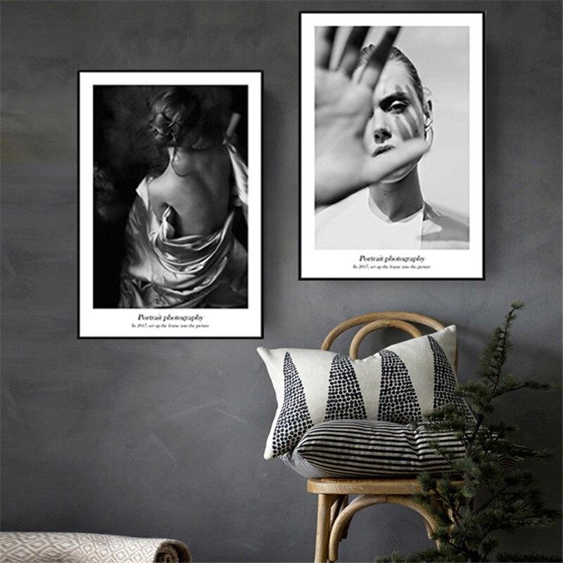 Nordic Modernen Schwarzen Und Weißen Schönheit Modell Frau Zurück Leinwand  Malerei Figur Geometrie Wandbild Dekorative Poster
