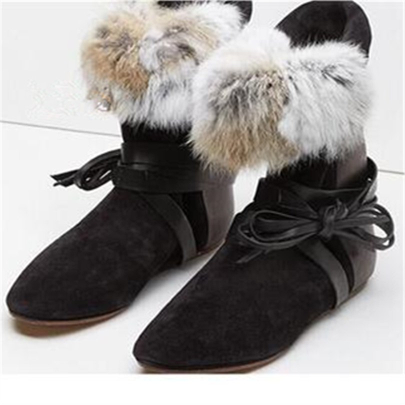 New Fashion Flat Shoes Woman Round Toe Winter Fashion Snow Boots Suede Nubuck Leather Women Boots Warm Furry Chain Wedge Boots