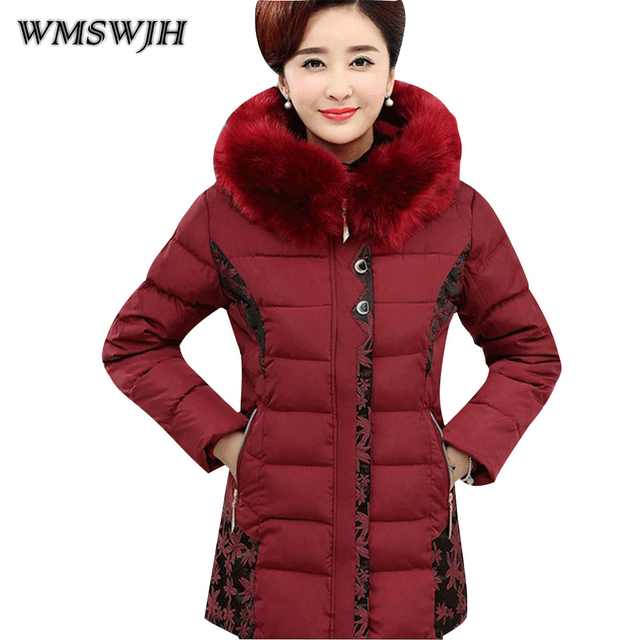 bc7860b2981 Wmswjh 2018 Women High Quality Winter Padded Jackets Mother Clothing  Cotton-Quilted Jacket Winter Midget Thickening Winter Coat