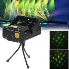 Mini Green Red LED Stage Effect Light Laser Projector Sound Activation & Stroboflash for Christmas Party Disco DJ KTV Bar Lamp