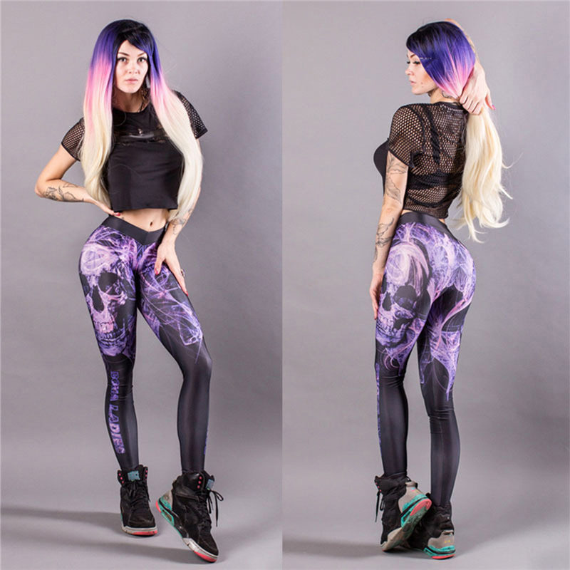 Daddy Chen Sport Fitness Leggings Women Pants Workout Gym Elastic Jogging Running Yoga Sport Women Pants Printed Sportswear Pant
