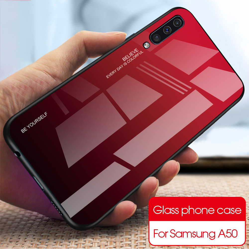 Gradient Phone <font><b>Case</b></font> For <font><b>Samsung</b></font> Galaxy <font><b>A50</b></font> <font><b>Case</b></font> Tempered <font><b>Glass</b></font> Back Cover For <font><b>Samsung</b></font> <font><b>A50</b></font> A505F A505 A 50 A505FD Fundas Coque image