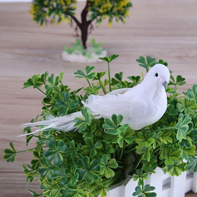 Artificial White Pigeon Plastic+Foam+Feather Figurines & Miniatures Home Table & Garden Hanging Decoration Creative Gift 8A1875