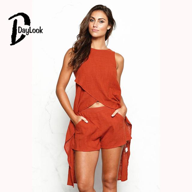 DayLook 2016 Verão Duas Peças Set Backless Bow Tie O-pescoço 2 Peça Definir As Mulheres Plus Size S-XL