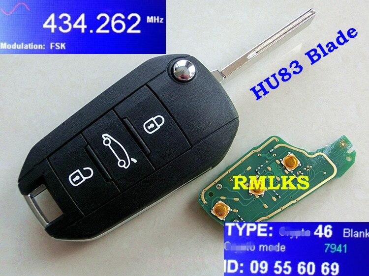 RMLKS Новый дистанционный ключ 3 кнопки 433 МГц ID46 PCF7941 чип подходит для Peugeot 508 автомобильный брелок Uncut HU83 Blade