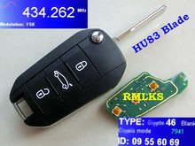 RMLKS New Remote Key 3 Button 433MHz ID46 PCF7941 Chip Fit For Peugeot 508 Car Key Fob Uncut HU83 Blade