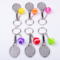 FREE shipping100pcs/lot 2016 New Hot Novelty Zinc Alloy Tennis Keychains Metal Ball Keyrings for Promotion