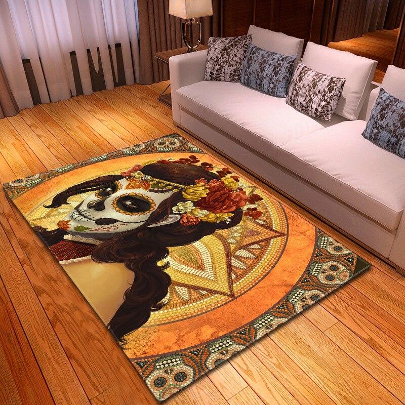 Halloween fête décor tapis garçons chambre jouer tapis flanelle salon tapis créatifs 3D crâne impression tapis pour salon décor à la maison