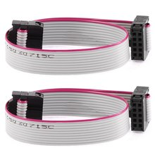 F/F IDC Connector 10 Pins Flat Ribbon Cable 2.54mm Pitch 20cm 2pcs for arduino