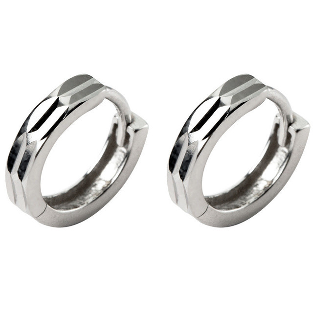 925 Sterling Silver Geometric Round Hoop Earrings