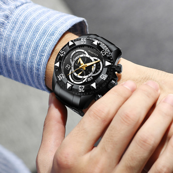 GIMTO Top Brand Men's Luxury Military Stainless Steel Waterproof Calendar Chronograph Quartz Watches 2