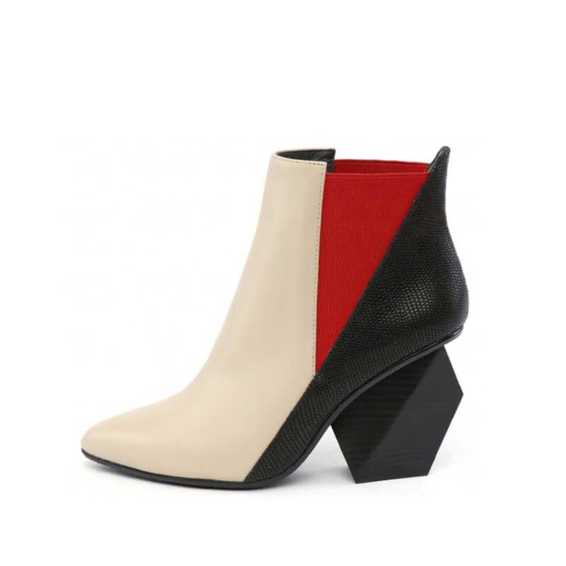 Chelsea Çizmeler Hakiki Deri Sivri Burun Kayma Garip Yüksek Topuk Karışık Renk yarım çizmeler ayakkabı Kadın Bota Mujer HL25 MUYISEXI