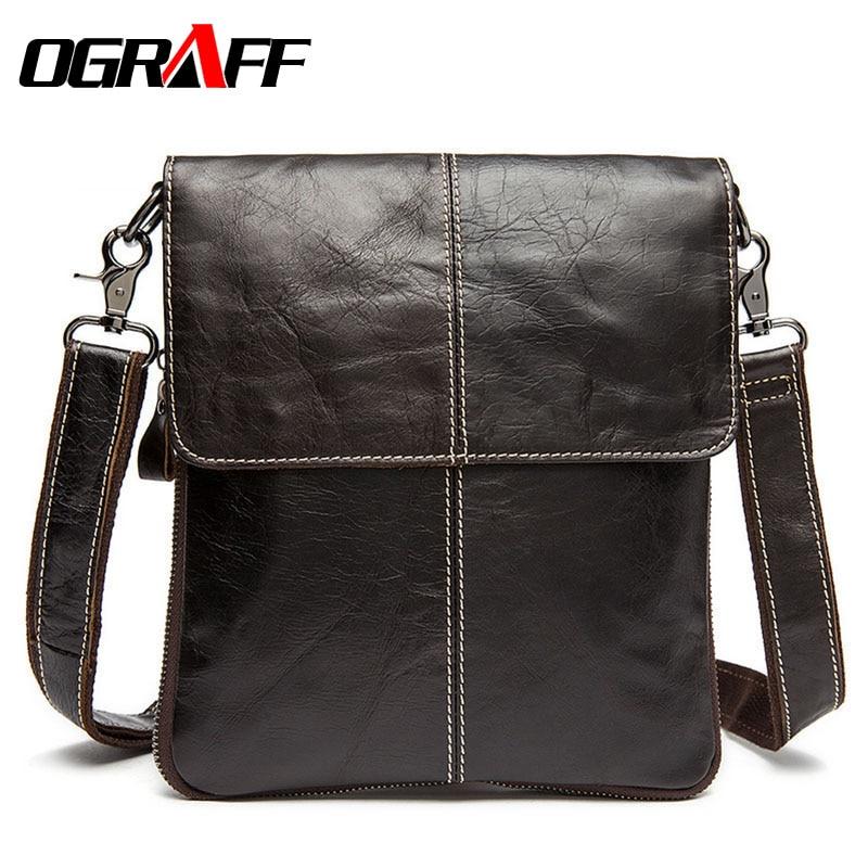 ФОТО OGRAFF Genuine Leather bag Men messenger bags business new brand designer Handbags high quality leather casual Men's travel bag