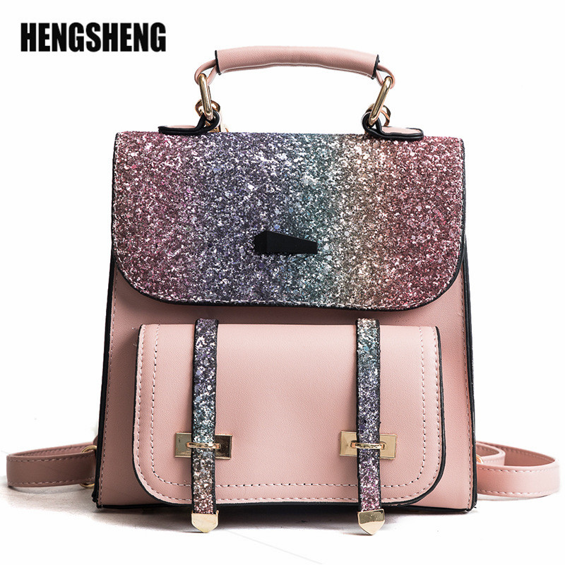 Fashion RucksackKorean Sequins Travel BagTide Single Shoulder Package Casual PU Flap Women's Handbags ZF9770