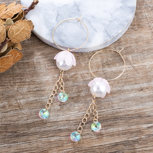 TDQUEEN Hoop Earrings For Women Acrylic Flower Simulated Pearl AB Crystal Pendant Ear Accessories Golden Color Chain