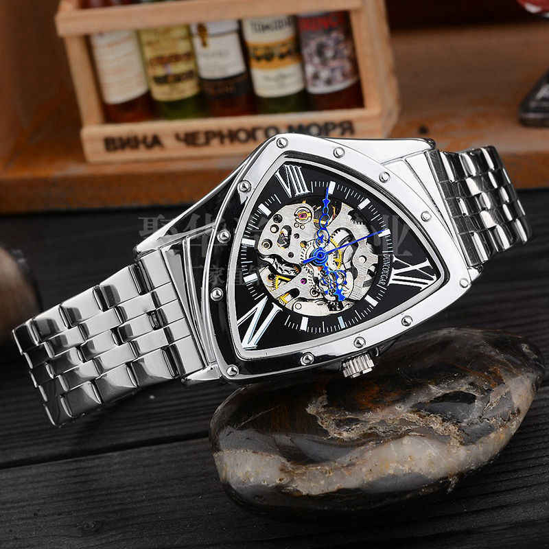 Men Watch Hollow Triangular Mechanical Watches Stainless Steel Men's Wristwatches Fashion Brand Men Clock Male Dropshipping!!!