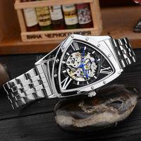 Men Watch Hollow Triangular Mechanical Watches Stainless Steel Men's Wristwatches Fashion Brand Men Clock Male Dropshipping!!!